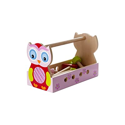 Mousehouse Gifts Quality Girls Pink Owl Pretend Play Wooden Tool Box Tool Kit for Kids Gift Present: Toys & Games