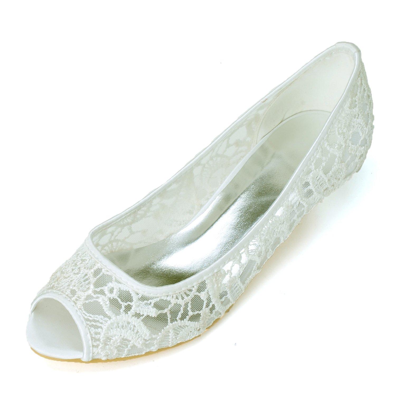 Moojm Flower-Ager 0700-06A Peep Toe Kitten Da Donna Prom Lace Wedding/Scarpe Da Sposa/Corte  Ivory