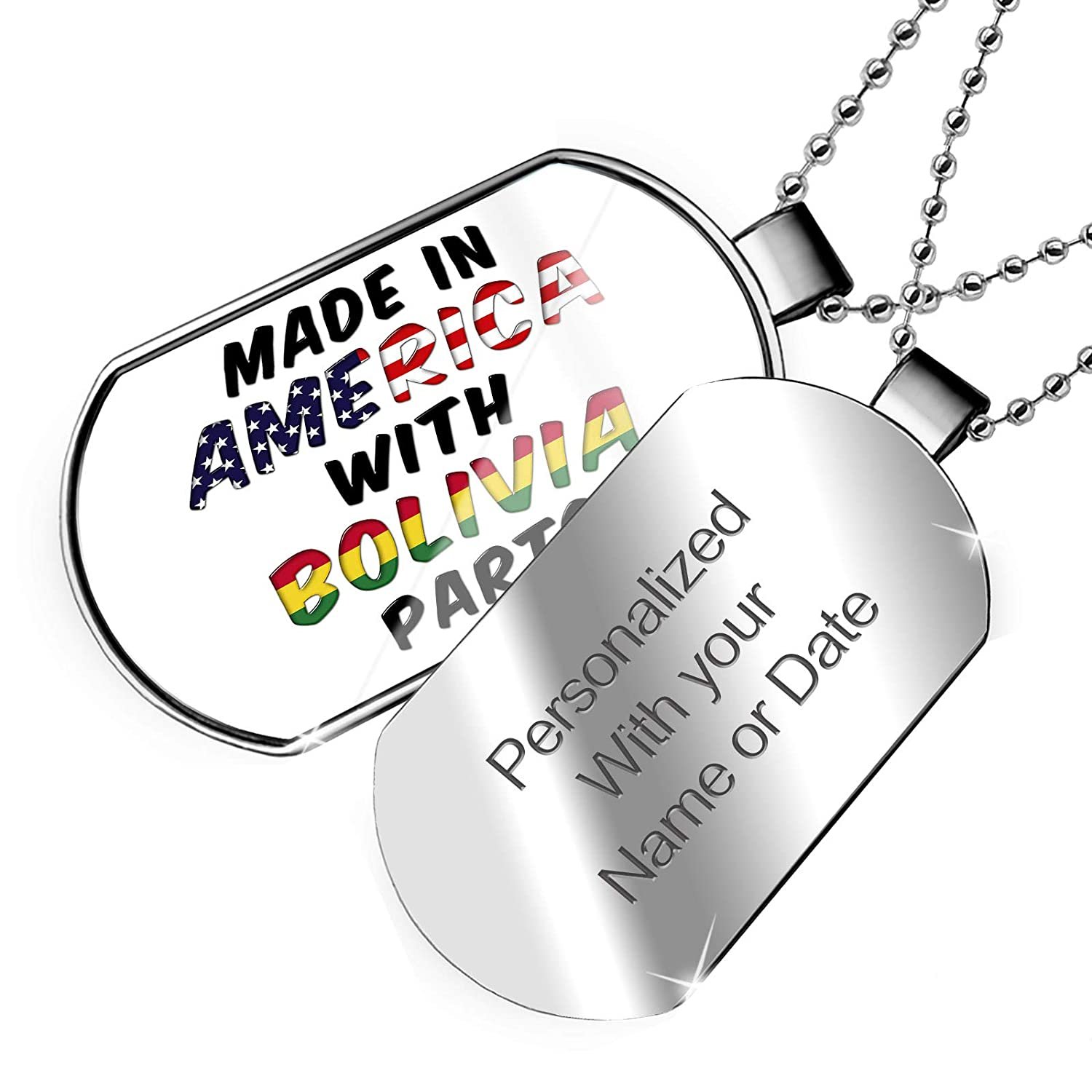 NEONBLOND Personalized Name Engraved Made in America with Parts from Bolivia Dogtag Necklace