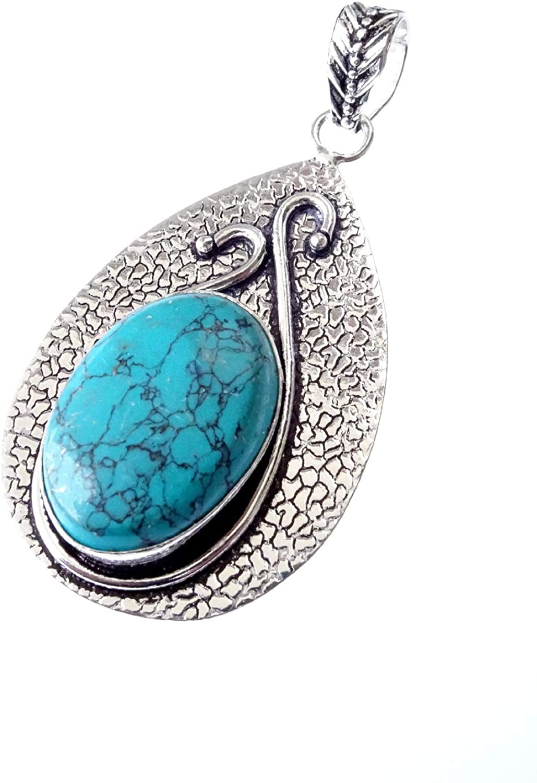 Genuine Ethnic Boho Tribal Gypsy Fashion Designer Amulet Locket Pendant for Women Unisex 925 Sterling Silver Plated Unique Handmade Jewelry Turquoise Gemstone Pendant