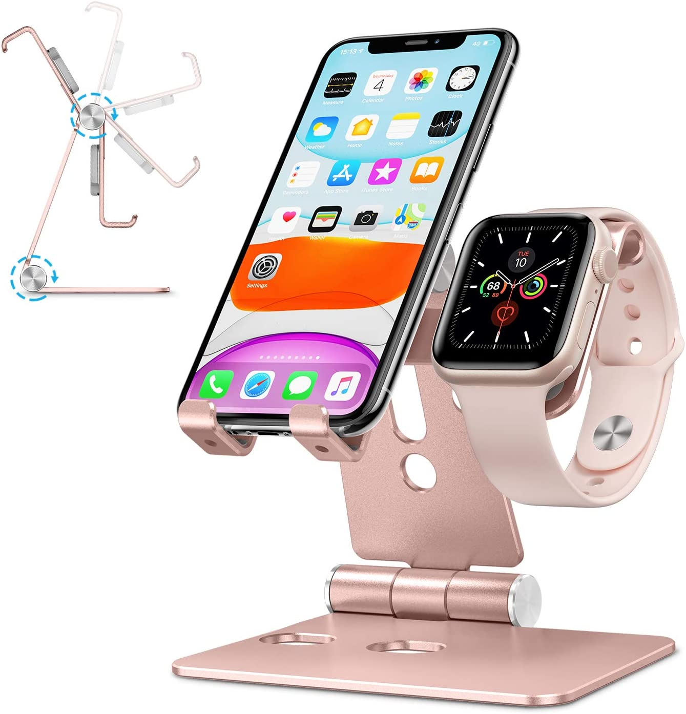 Cell Phone Stand for Apple Watch - OMOTON 2 in 1 Aluminum Foldable Charging Dock Stand for Apple Watch 5/4/3/2/1 and iPhone SE/11/11 Pro/11 Pro Max/XR/Xs/Xs Max (Rose Gold)