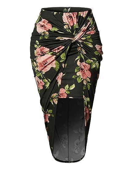 a20b491348 RubyK Womens Asymmetrical Draped Wrap Cut Out Hi Low Midi Skirt at ...