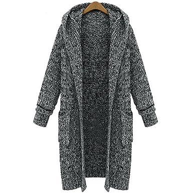 d35eca5e1 AOMEI Long Cardigans Sweater for Women Long Sleeve with Hood Pockets