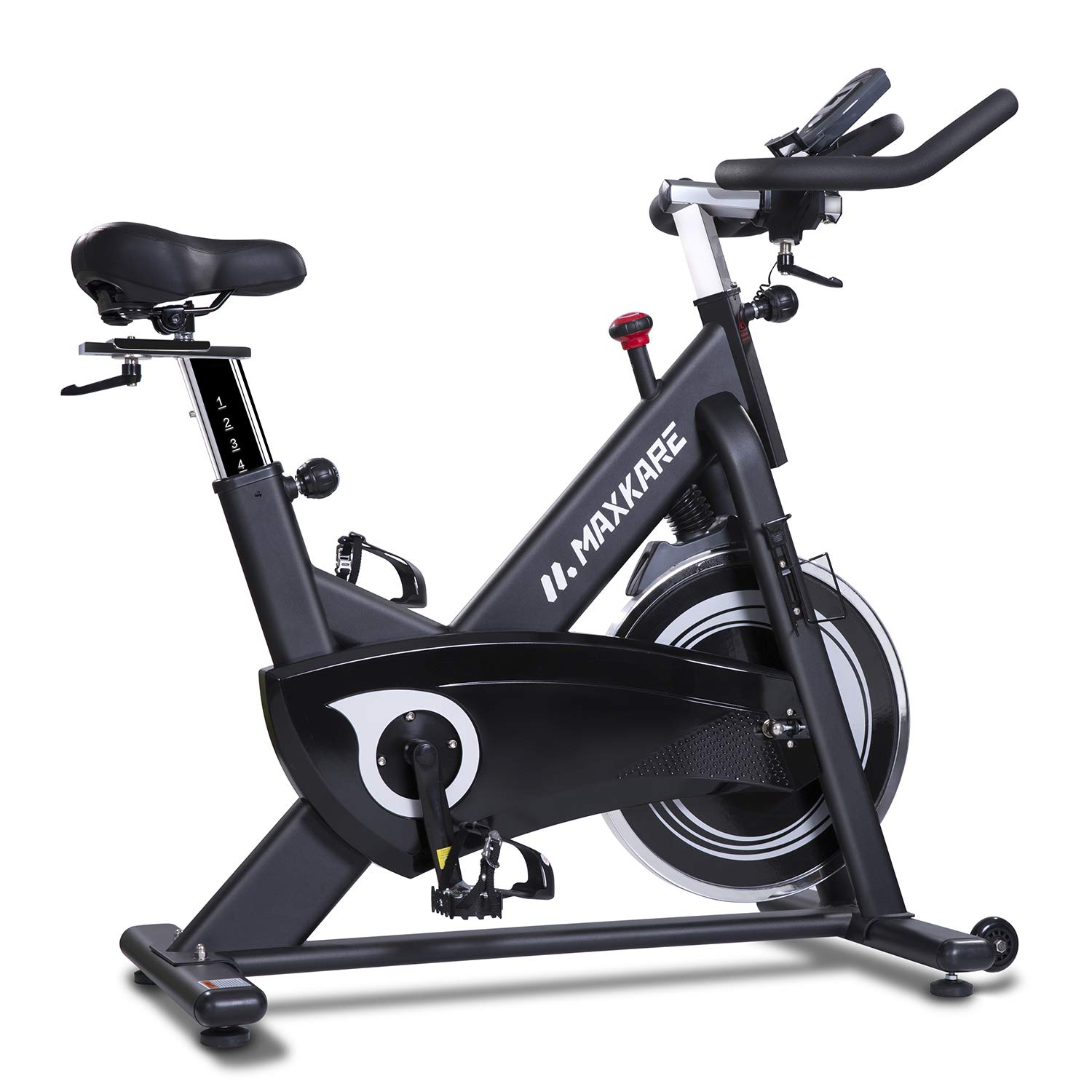 MaxKare Magnetic Exercise Bikes Stationary Belt Drive Indoor Cycling Bike with High Weight Capacity Adjustable Magnetic Resistance w/LCD Monitor/Pulse Sensors/Tablet Holder (Black)