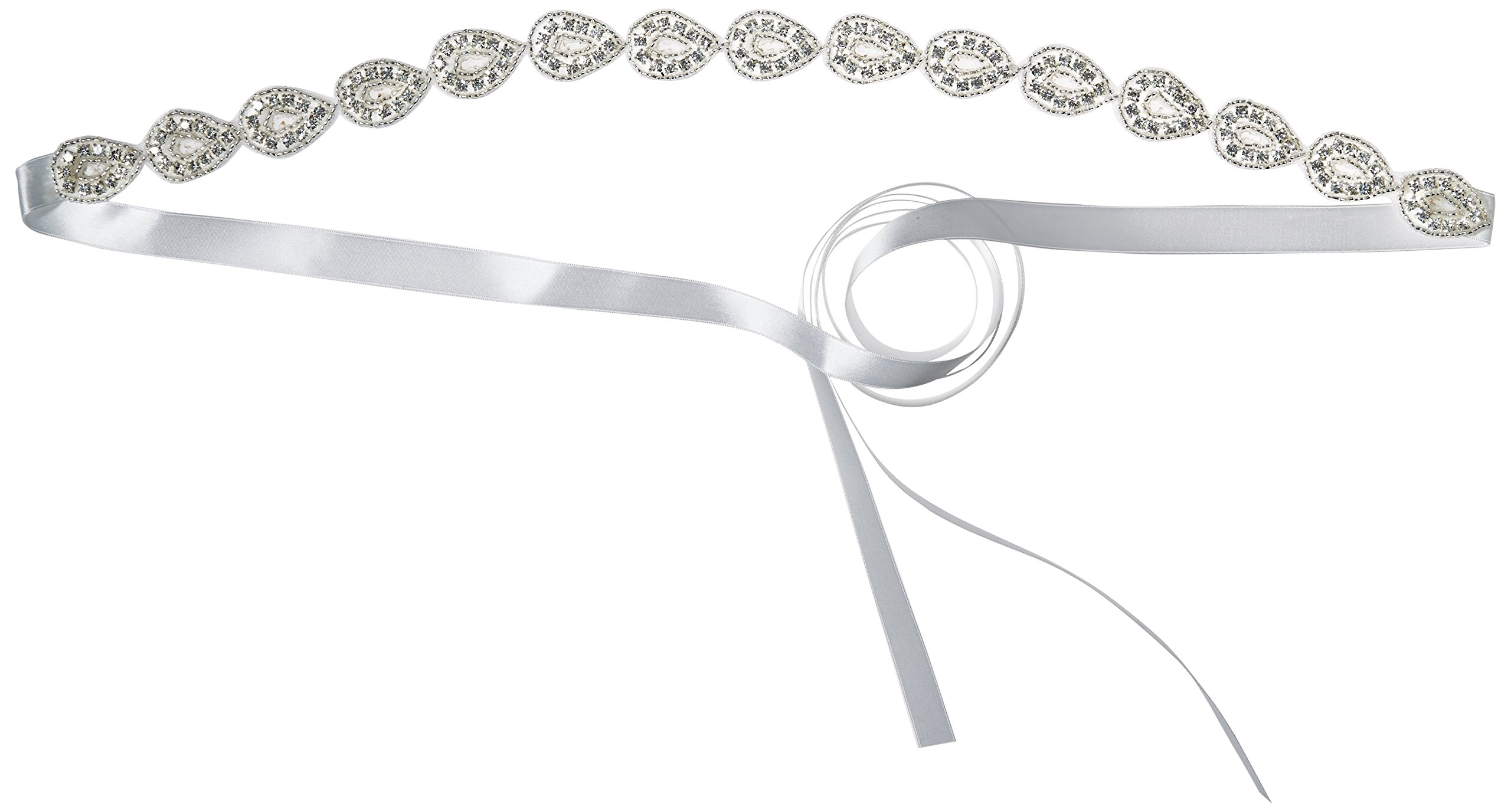 J-Picone Women's Dylan Hard Rock Crystal Bridal Belt with 18 Inch Tear Drop Crystal Chain, Ivory, One Size by J-Picone