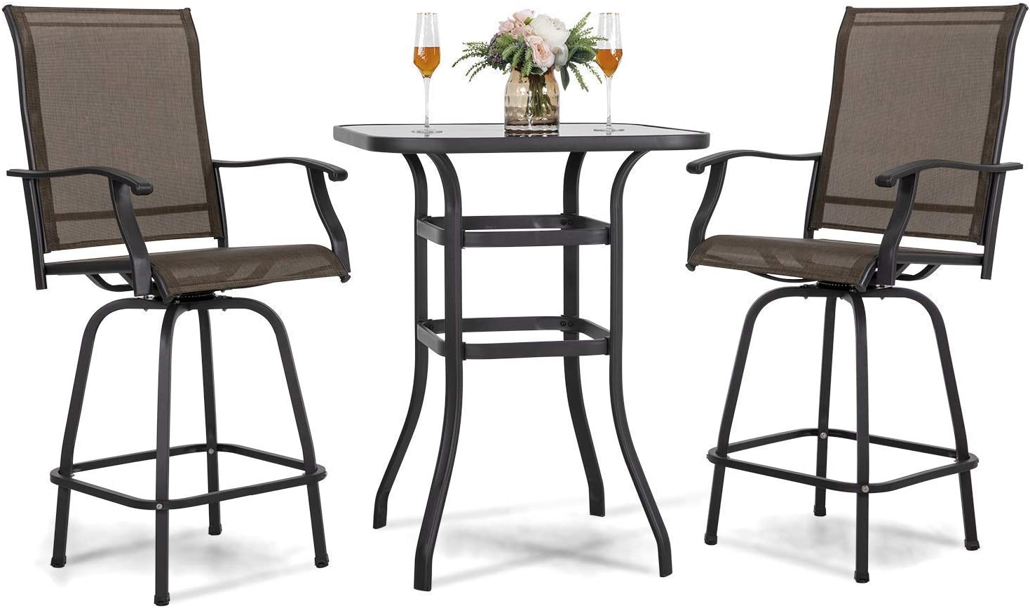 Nuu Garden 3 Piece Patio Bar Set Furniture Wrought Iron Stool & 31 inch Bar Height Table