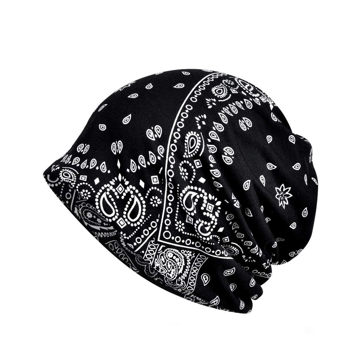 Cotton Fashion Beanies Chemo Caps Cancer Headwear Skull Cap Knitted hat Scarf for Womens Mens (MZ015-Black