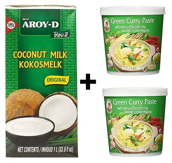 Cock Paste 2x 400g verde + Aroy leche de coco 1 litro