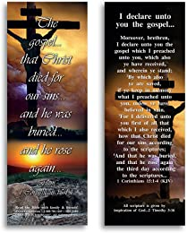 Bible Verse Cards, by eThought - I Corinthians 15:1-4, I Declare Unto You the Gospel - Pack of 25 Bookmark Size Cards