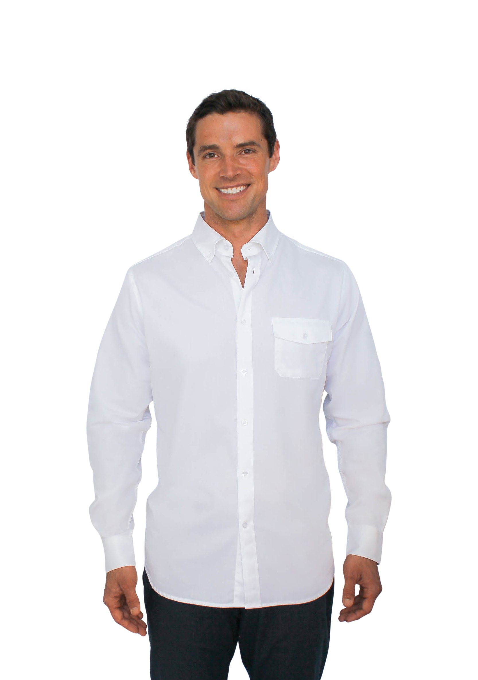 The BSE - Stainproof, Waterproof, Sweat-wicking Men's Button Down (Medium, White) by Clickbait Clothing