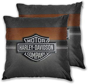 Soft Decorative Square Throw Pillow Covers Harley David-Son Logo Cushion Cases Pillowcases for Sofa Bedroom Car No Pillow Insert