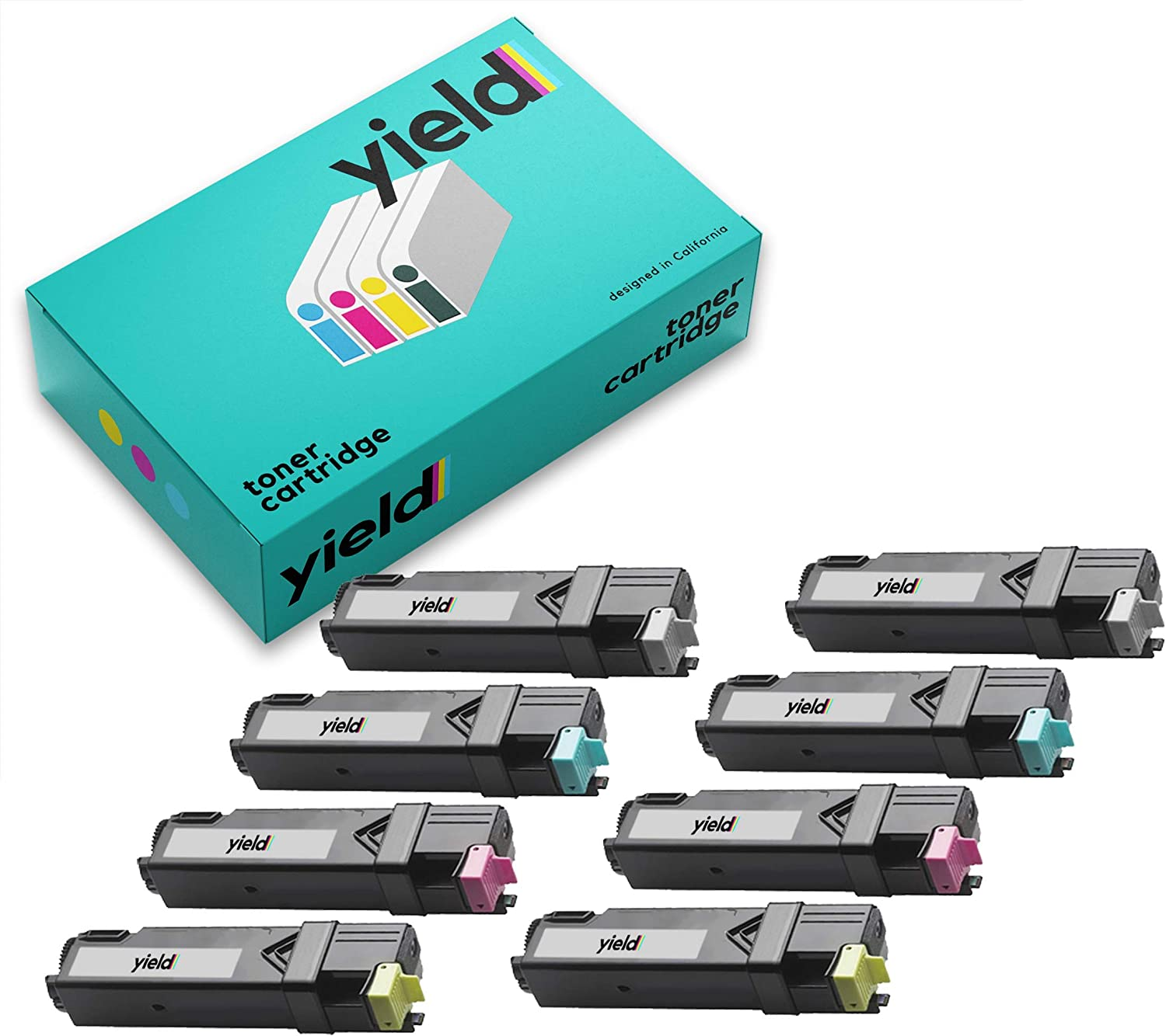 YS Compatible Toner Cartridge Replacement for DELL 2150 2155 2150CN (8-Pack Set)