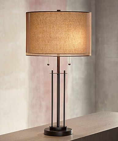 Amazon.com: Franklin Iron Works doble sombra Lámpara de mesa ...