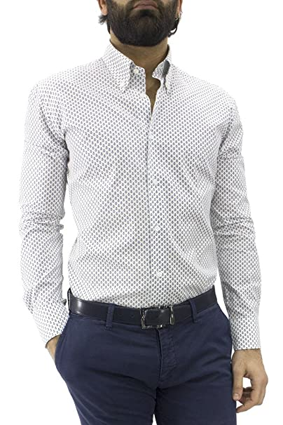 meet 773b0 14911 Camicia Uomo Manica Lunga Slim Fit con Collo Botton Down ...