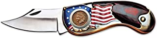 product image for American Flag Coin Pocket Knife with Indian Head Penny | 3-inch Stainless Steel Blade | Genuine United States Coin | Collectible | Certificate of Authenticity