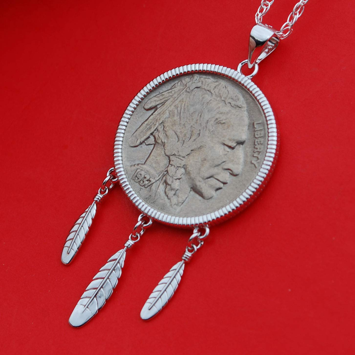 "1936-1937 Buffalo Nickel Indian Head Nickel Pendant on a 30/"" 925 Silver Chain"