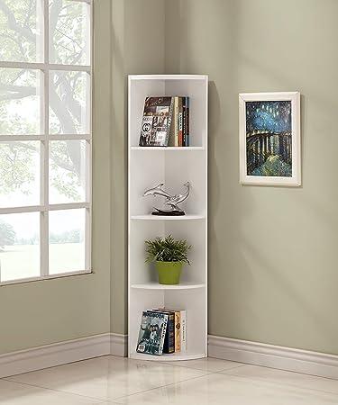 White Finish Wood Wall 5-Tier Corner Bookshelf Bookcase
