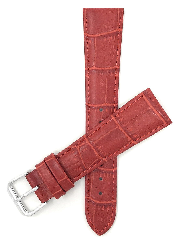 レディース 腕時計バンド 12mm~20mm アリゲータースタイル 本革 ストラップ 色のバリエーション:ホワイト レッド ブルー ベージュ オレンジ ピンク グレー グリーン 18MM レッド 18MM|レッド レッド 18MM B01B2FU08S