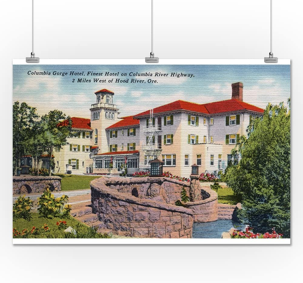 36x54 Giclee Gallery Print, Wall Decor Travel Poster Exterior View of Columbia Gorge Hotel Oregon Hood River