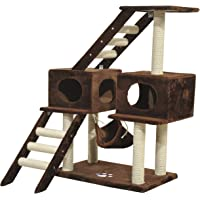"""PawHut D30-020 42.8"""" Scratching Cat Tree Climber Tower Condo with Hammock Post Brown"""
