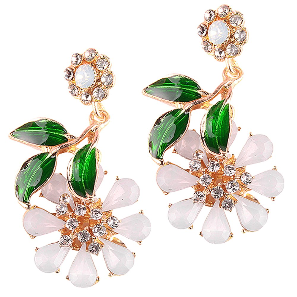 LARGE Rhinestone Crystals Statement Flower Drop Dangling Earrings Perfect Summer Earrings In Pink, Hot Pink, White, Aurora Borealis, and Navy Blue (White)