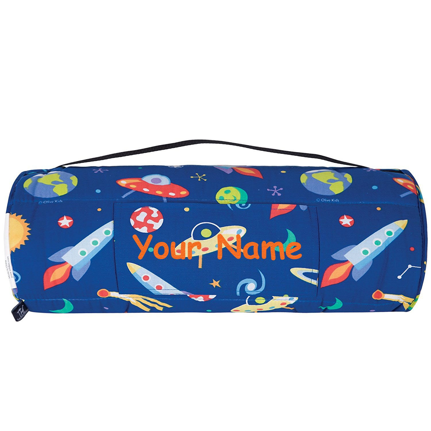 WK Personalized Olive Kids Out of This World Space Nap Mat Sleeping Bag