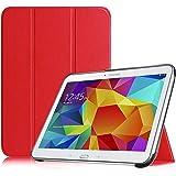Fintie Samsung Galaxy Tab 4 10.1 Hülle Case - Ultra Schlank Superleicht Ständer SlimShell Cover Schutzhülle Etui Tasche mit Auto Schlaf / Wach Funktion für Samsung Galaxy Tab 4 10.1 SM-T530 SM-T535 (nicht geeignet für Samsung Galaxy Tab 3 10.1), Rot