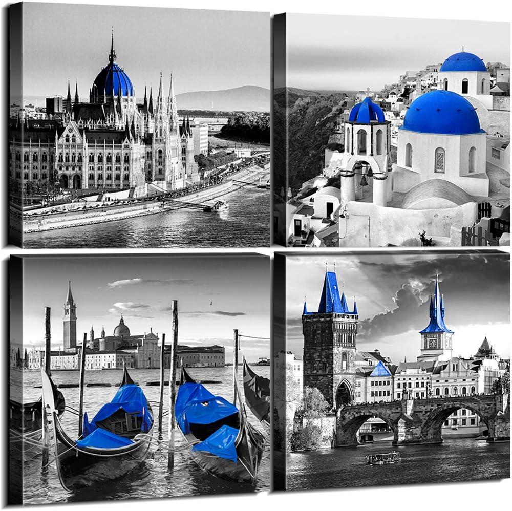 Sunfrower Black & White City Wall Decor Navy Blue European Mediterranean Landscape Building Venice Sea Town of Santorini Canvas Print Wall Art Home Decoration Bathroom Living Room 12 x 12 inch 4 Piece