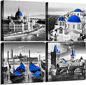 Sunfrower Black & White City Wall Decor Navy Blue European Mediterranean Landscape Building Venice Sea Town of Santorini Canvas Print Wall Art Home Decoration Bathroom Living Room 12 x 12 inch 4 Piece