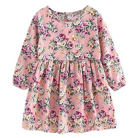 Niña Vestido De Manga Larga Floral Vestir - Cute Kid Ropa Mini Vestido De Primavera Verano