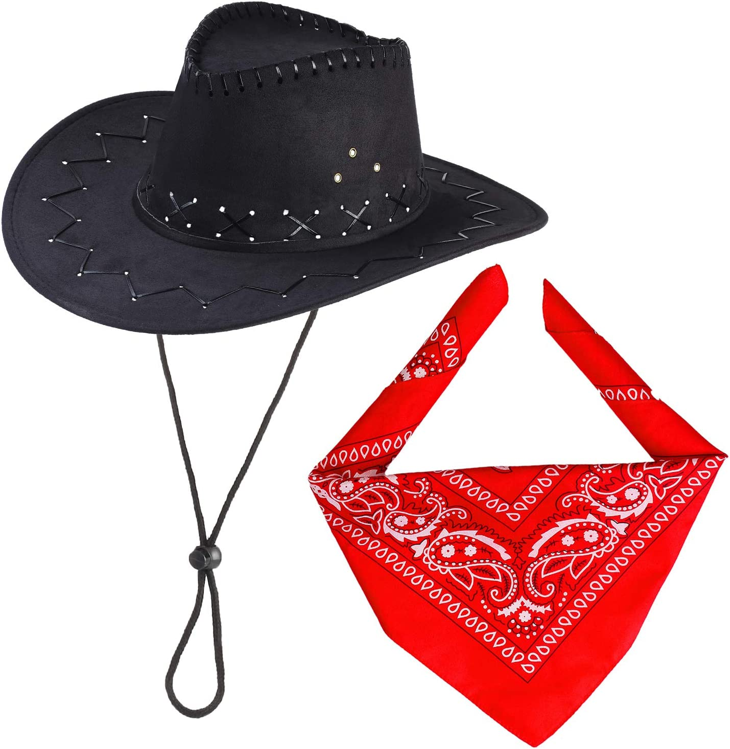 Beefunny Cowboy Hat With Cowboys accessories - Western Sheriff Bandana  Headband Gift Sets for both adult and kids (Black)