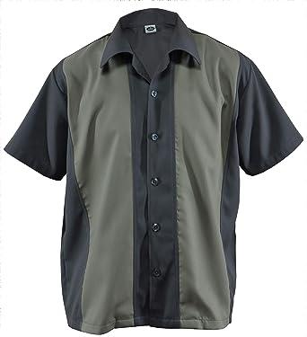 Camisa de bolos para hombre, Camp Cabin, camisa de trabajo, Rockabilly, dos tonos, Gabardine Lounge Fifties Vintage Retro Panel D800
