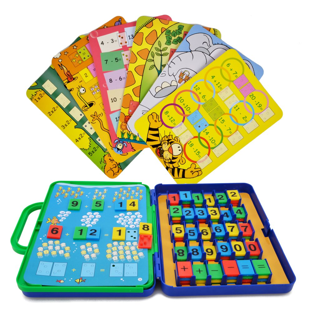 WISHTIME Preschool Maths Cards Learning Toys Colourful Maths Games for Toddler Kids Educational Number Counting Cards for Girls Boys Age 2 (15 maths cards+72 numbers )