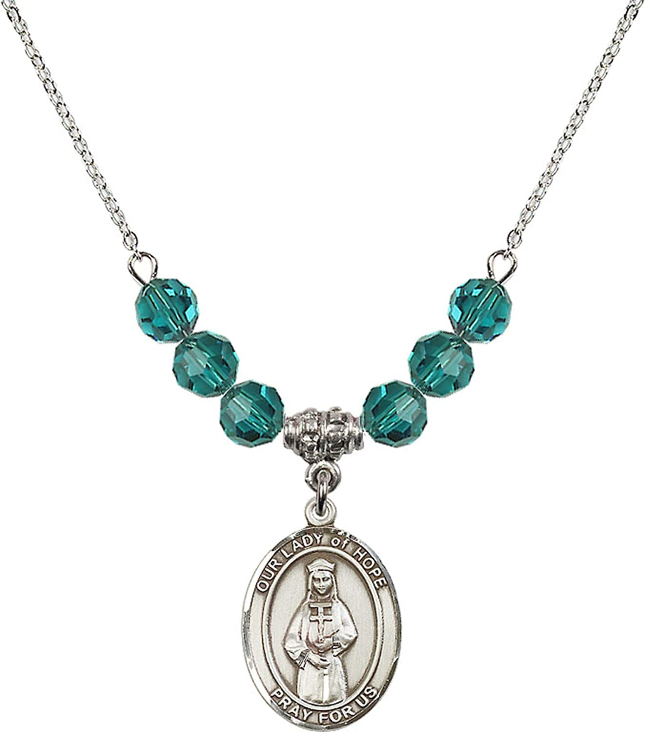 Bonyak Jewelry 18 Inch Rhodium Plated Necklace w// 6mm Blue December Birth Month Stone Beads and Our Lady of Hope Charm