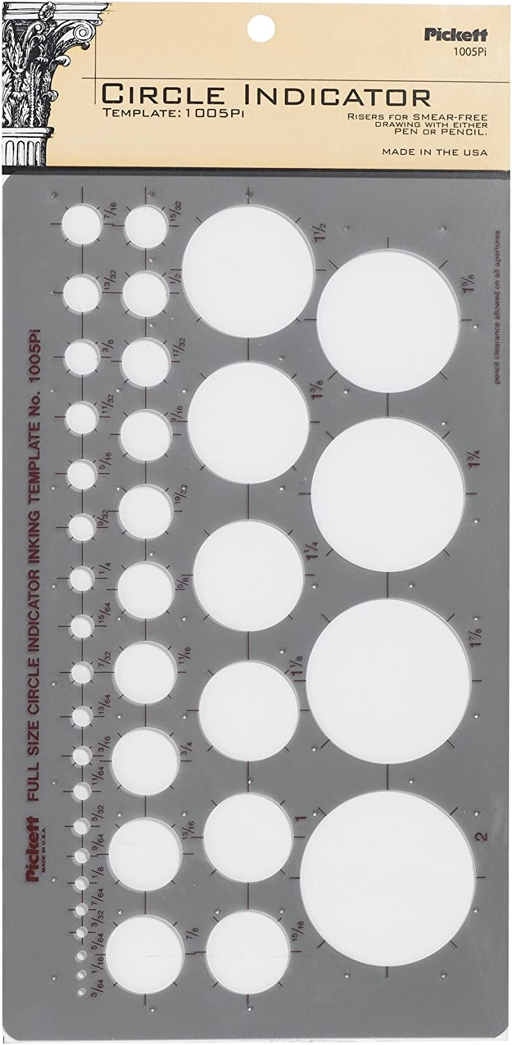 Pickett Circle Indicator Template, Range From 3/64 to 2 Inches in Diameter (1005PI)