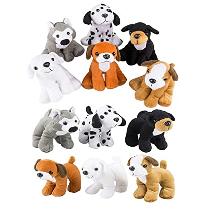 4E's Novelty Stuffed Plush Soft Dogs Animals Puppies Bulk Party Favor, Large Stuffed Animals Assortment, 6 inches, Pack of 12, 2 of Each Style, By