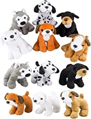 4E's Novelty Stuffed Plush Soft Dogs Animals Puppies Bulk Party Favor, Large Stuffed Animals Assortment, 6 inches, Pack of 12
