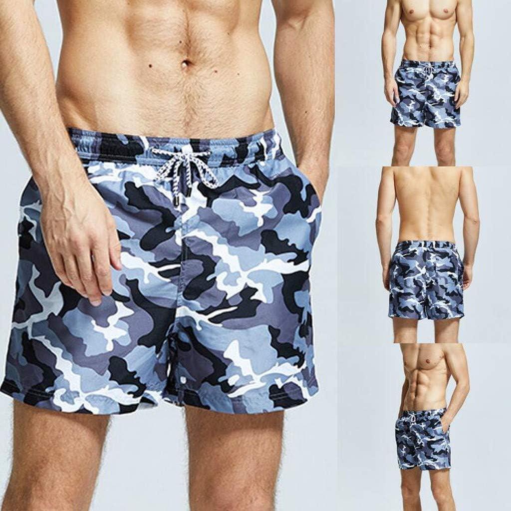 HighlifeS/_Mens Swim Trunks,Mens Swim Drawstring Trunks Quick Dry Beach Surfing Running Swimming Shorts