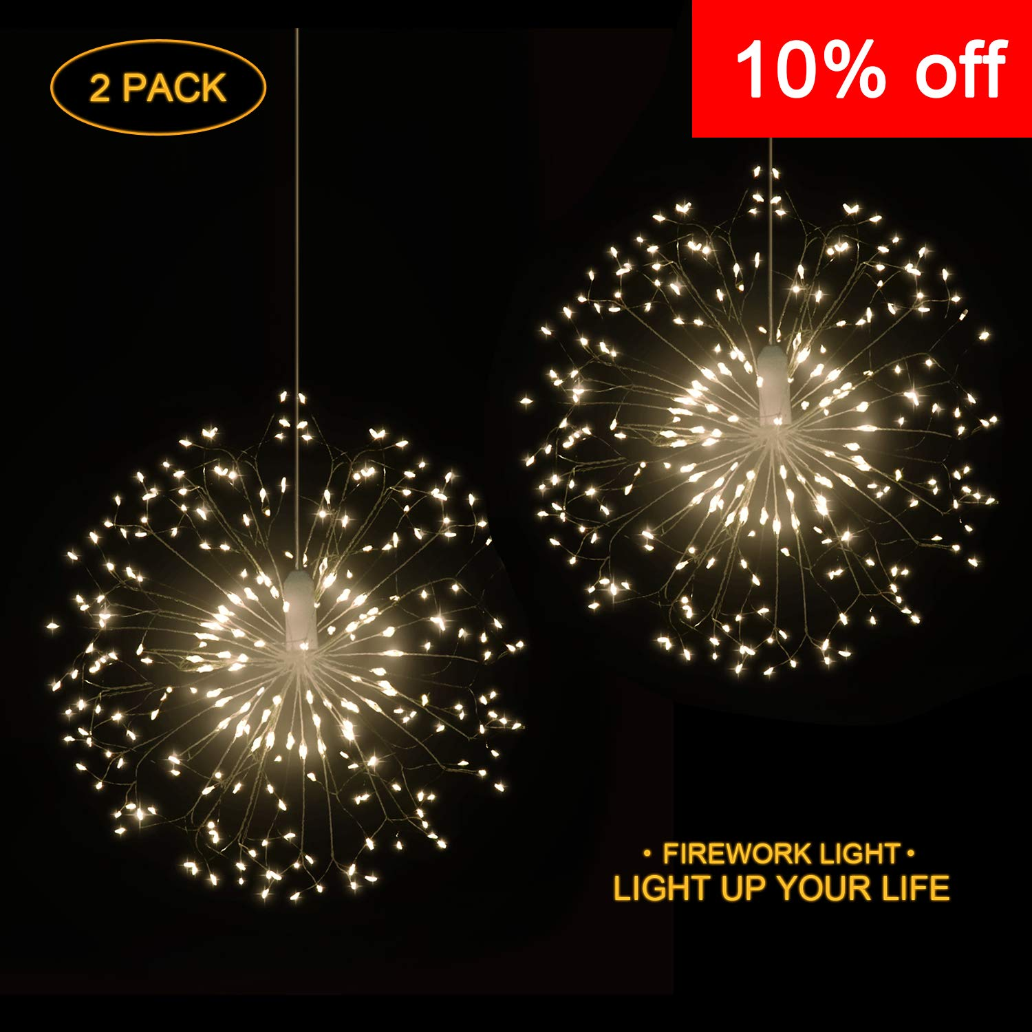 Hensun String 8 Modes Dimmable with Remote Control Battery Operated Hanging Starburst 198 LED IP44 Waterproof Decorative Wire Lights for Parties Warm White 2 Pack