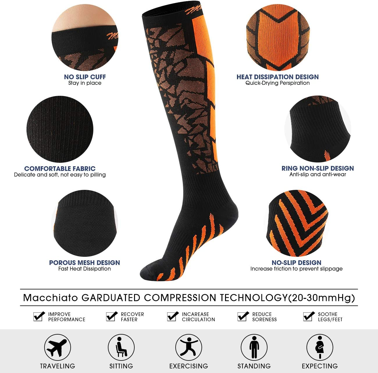 Macchiato 3 Pairs Compression Socks for Women and Men 20-30 mmHg-Best for Running,Athletic,Medical,Pregnancy and Travel Style1 L//XL