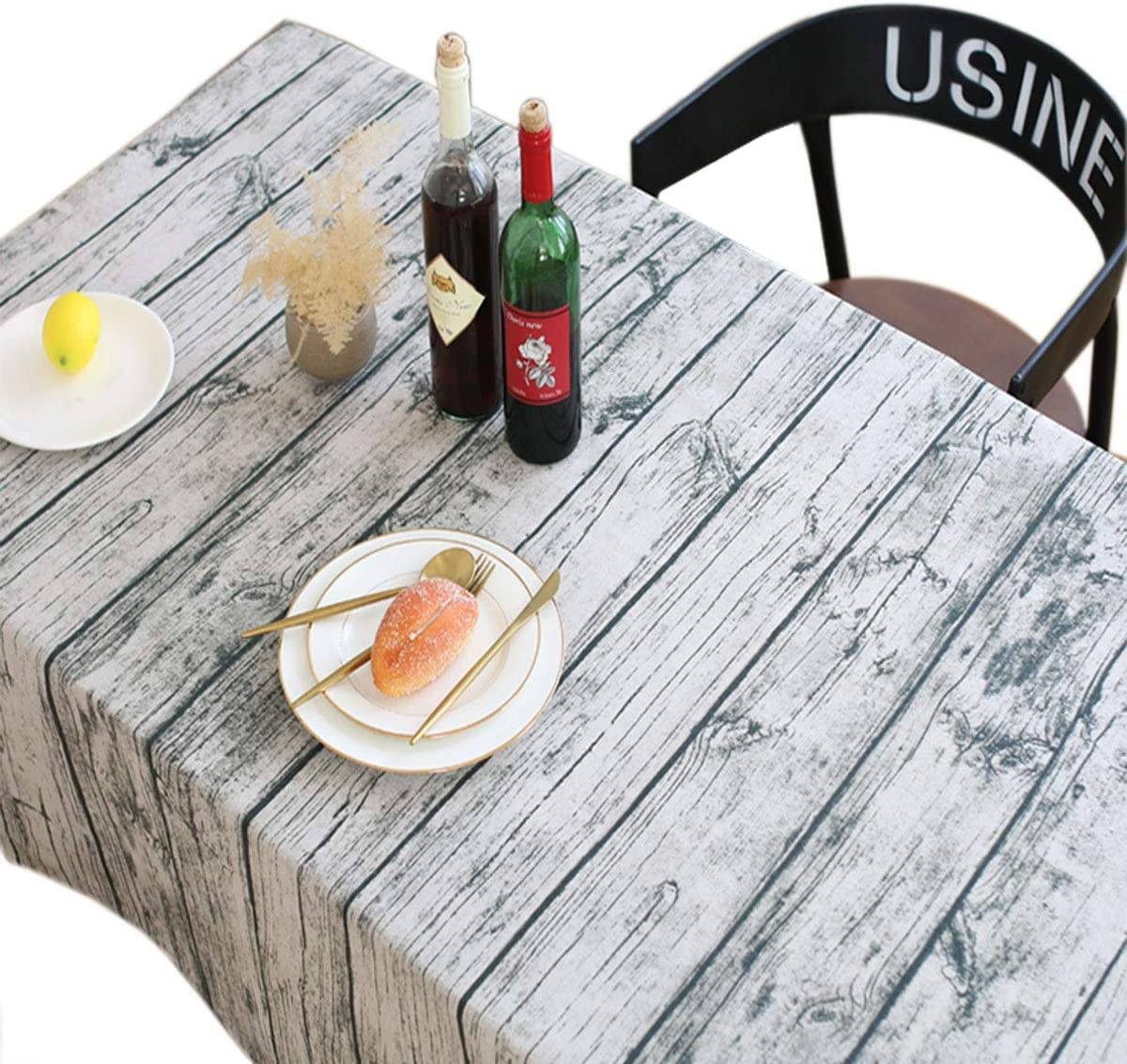 Bringsine Washable Cotton Linen Vintage Wooden Grain Pattern Rectangle Tablecloth Dinner Picnic Table Cloth Home Decoration Assorted Size(Rectangle/Oblong, 55 x 79 Inch)