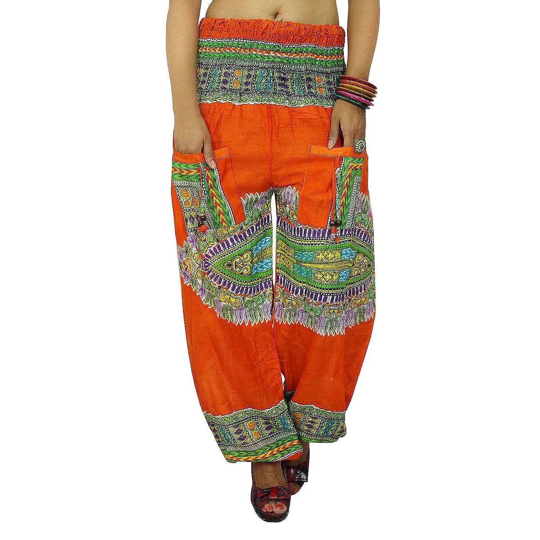 Blumendruck-beiläufige Hosen Harem Orange Sommer-Hosen Frauen Hippie Boho Cotton Dhoti Indien Geschenk
