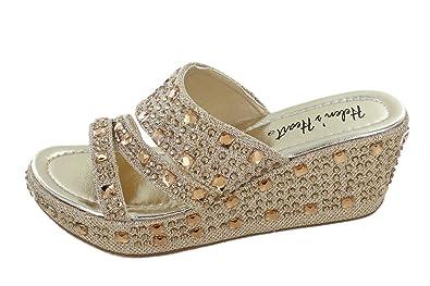 f871587b0544d Women s Bling Sparkle Slide Wedge Sandal Gold Silver (6