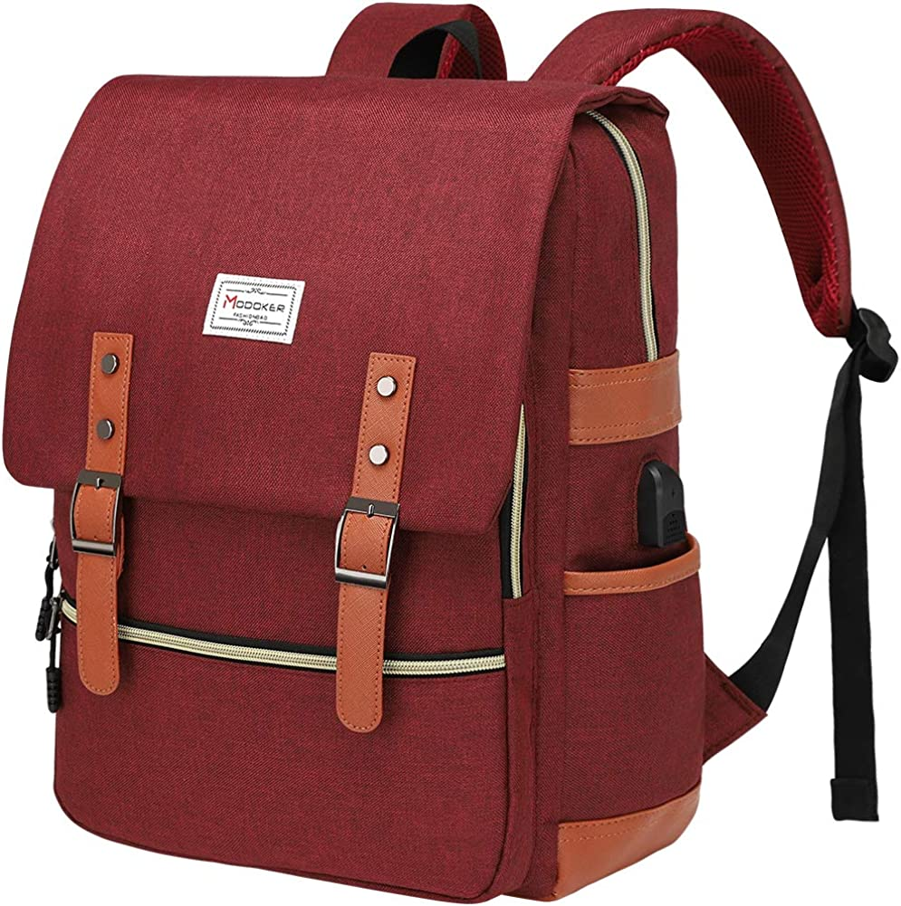 Modoker Vintage Laptop Backpack for Women Men,School College Backpack
