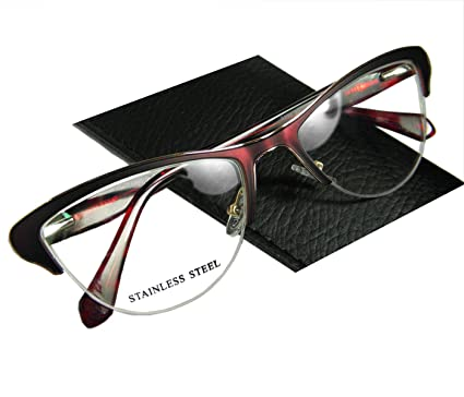 1f420a3f98d Circleperson women cat eye glasses frames spring hinges half-rimless middle  size (Burgundy