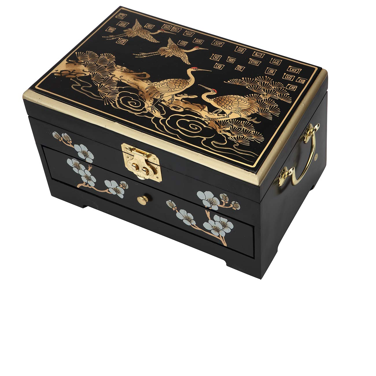 Surely Oriental Wood Jewelry Box/Case/Storage with Black Lacquer