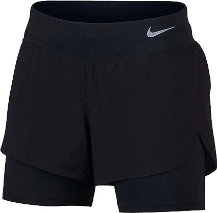 Nike W NK Eclipse 2IN1 Short Sport Femme, Black(Reflective