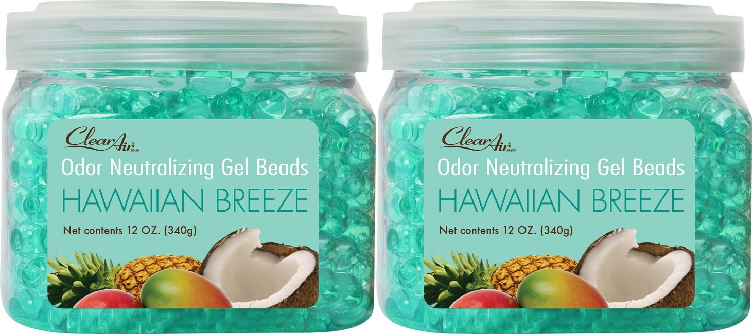 Clear Air Odor Eliminator Gel Beads - Air Freshener - Eliminates Odors in Bathrooms, Cars, Boats, RVs and Pet Areas - Made with Natural Essential Oils - Hawaiian Breeze Scent - 2 Pack (2 x 12 Ounce)