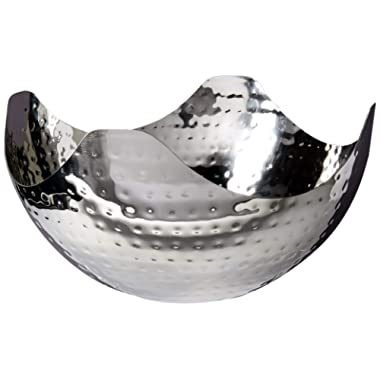 Elegance Hammered 10-Inch Stainless Steel Wave Serving Bowl