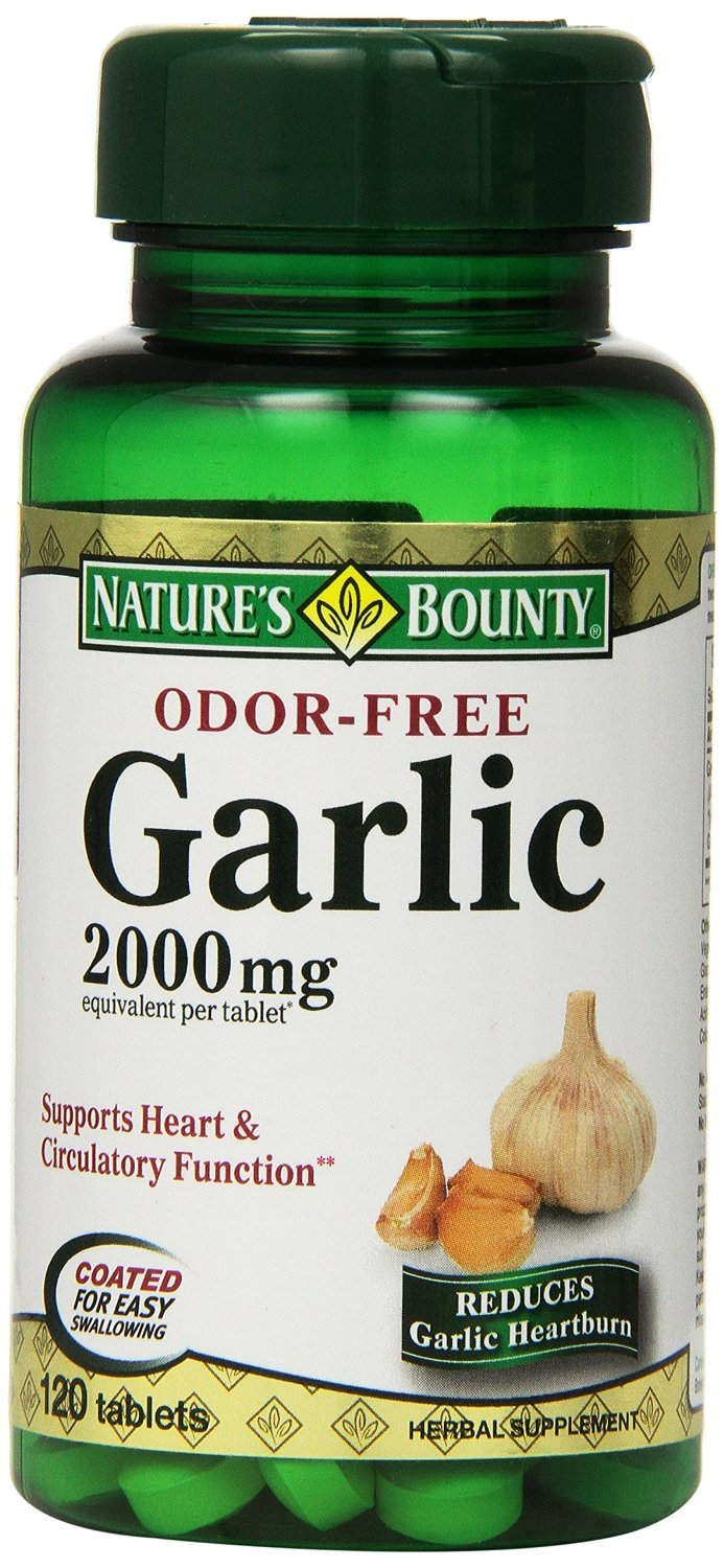 Nature's Bounty Garlic, 2000mg, Odor-Free, 120 Tablets (Pack of 8) , Bounty -wy